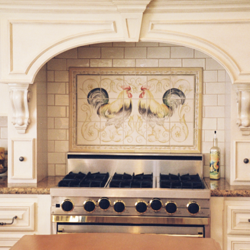 Rooster Painted tile design from Caputo Design Stone & Tile in Raleigh, NC